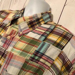 "Orvis Madras Plaid Button Shirt Oxford Collar ""XL"""